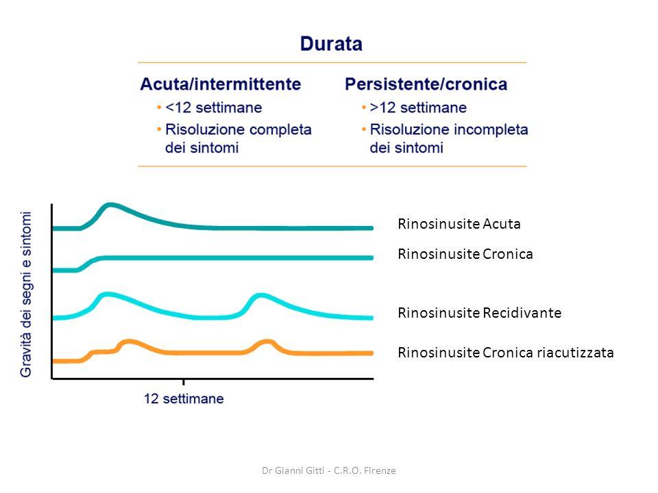 Rinosinusite Acuta Rinosinusite Cronica Rinosinusite Recidivante Rinosinusite Cronica riacutizzata