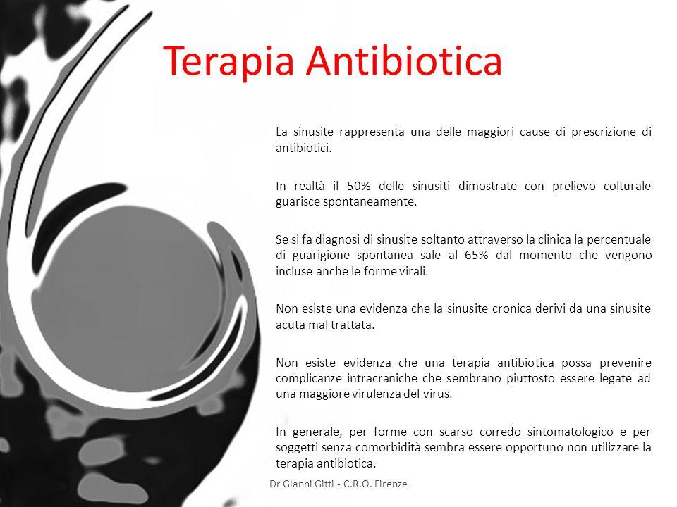 Terapia Antibiotica La sinusite rappresenta una delle maggiori cause di prescrizione di antibiotici. In realtà il 50% delle sinusiti dimostrate con pr