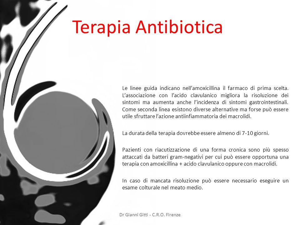 Terapia Antibiotica Le linee guida indicano nellamoxicillina il farmaco di prima scelta. Lassociazione con lacido clavulanico migliora la risoluzione