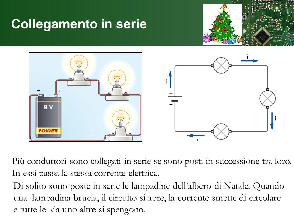 Collegamento in serie Più conduttori sono collegati in serie se sono posti in successione tra loro. In essi passa la stessa corrente elettrica. Di sol