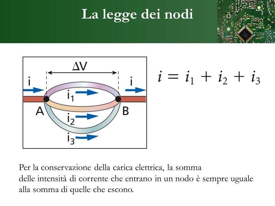 La legge dei nodi Per la conservazione della carica elettrica, la somma delle intensità di corrente che entrano in un nodo è sempre uguale alla somma