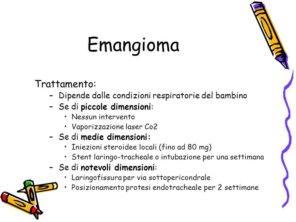 Emangioma Trattamento: –Dipende dalle condizioni respiratorie del bambino –Se di piccole dimensioni: Nessun intervento Vaporizzazione laser Co2 –Se di