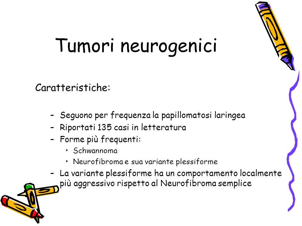Tumori neurogenici Caratteristiche: –Seguono per frequenza la papillomatosi laringea –Riportati 135 casi in letteratura –Forme più frequenti: Schwanno