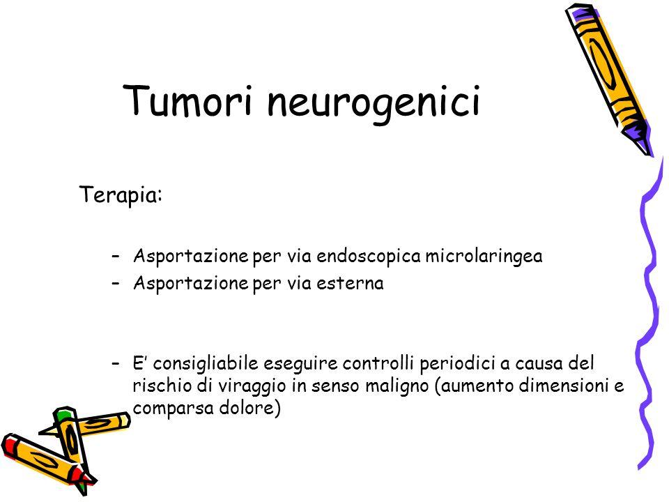 Tumori neurogenici Terapia: –Asportazione per via endoscopica microlaringea –Asportazione per via esterna –E consigliabile eseguire controlli periodic