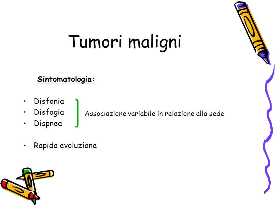 Tumori maligni Sintomatologia: Disfonia Disfagia Dispnea Rapida evoluzione Associazione variabile in relazione alla sede