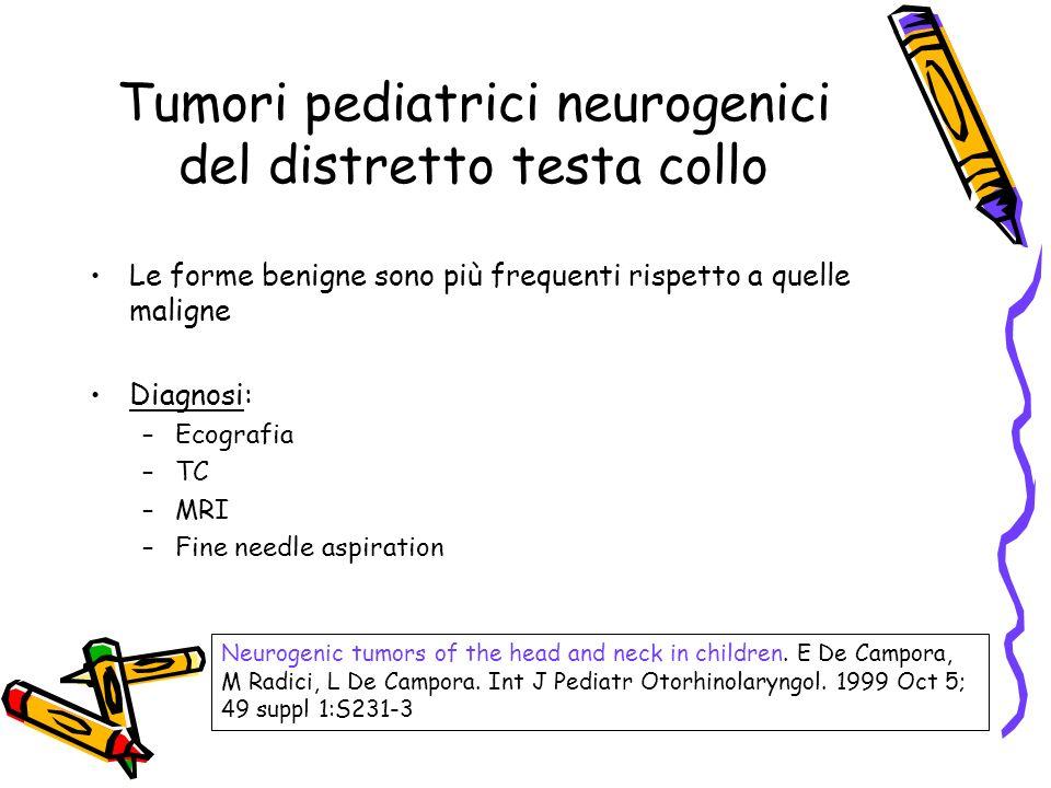 Le forme benigne sono più frequenti rispetto a quelle maligne Diagnosi: –Ecografia –TC –MRI –Fine needle aspiration Neurogenic tumors of the head and