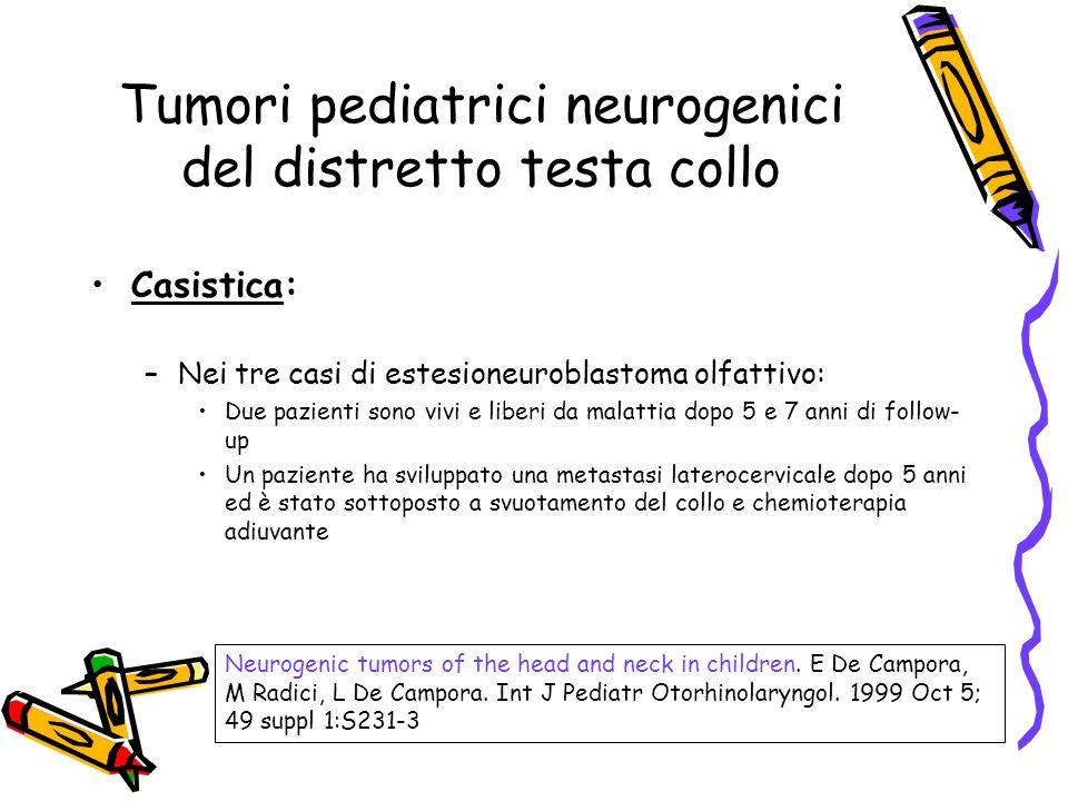 Casistica: –Nei tre casi di estesioneuroblastoma olfattivo: Due pazienti sono vivi e liberi da malattia dopo 5 e 7 anni di follow- up Un paziente ha s