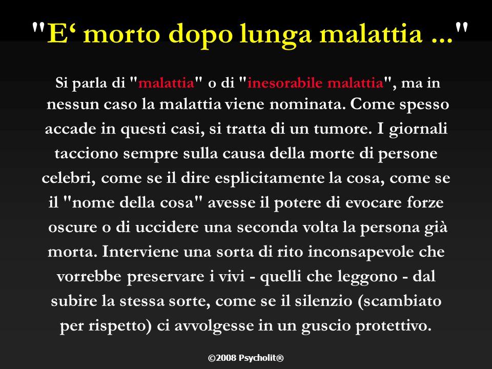 VIP ITALIANI E CANCRO Il cancro non conosce distinzioni di classe, politiche o di religione. Alte cariche dello stato, personaggi dello sport e dello