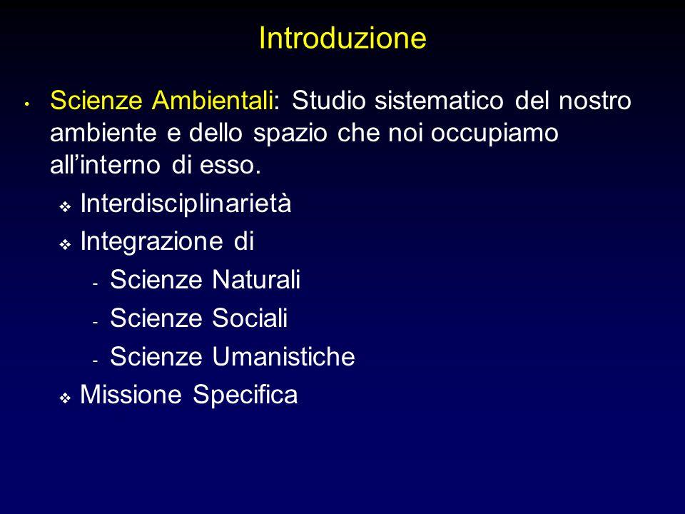 Introduzione Scienze Ambientali: Studio sistematico del nostro ambiente e dello spazio che noi occupiamo allinterno di esso.