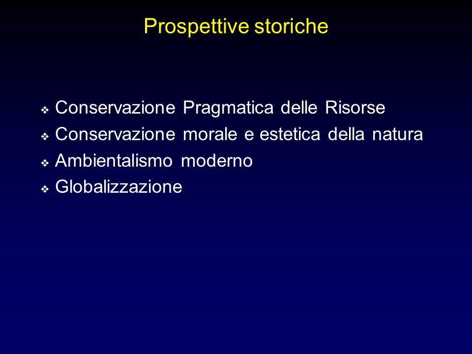 Prospettive storiche Conservazione Pragmatica delle Risorse Conservazione morale e estetica della natura Ambientalismo moderno Globalizzazione