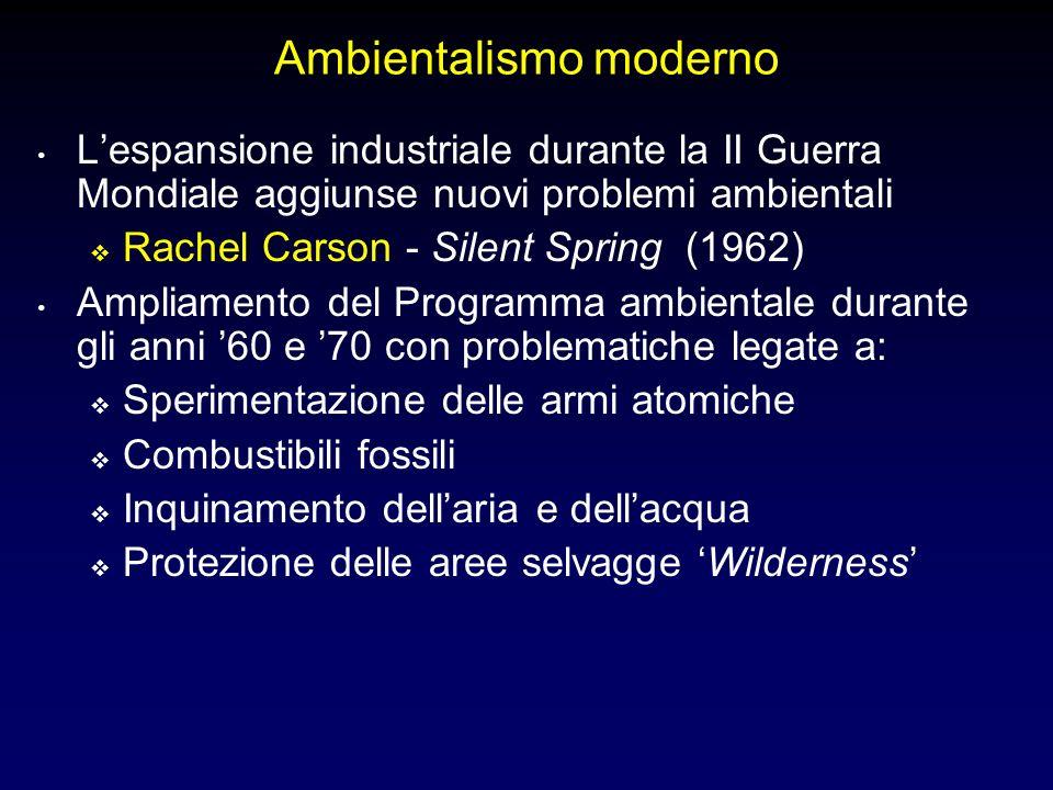 Ambientalismo moderno Lespansione industriale durante la II Guerra Mondiale aggiunse nuovi problemi ambientali Rachel Carson - Silent Spring (1962) Ampliamento del Programma ambientale durante gli anni 60 e 70 con problematiche legate a: Sperimentazione delle armi atomiche Combustibili fossili Inquinamento dellaria e dellacqua Protezione delle aree selvagge Wilderness