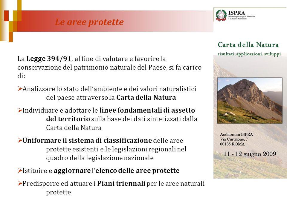 La Legge 394/91, al fine di valutare e favorire la conservazione del patrimonio naturale del Paese, si fa carico di: Analizzare lo stato dellambiente