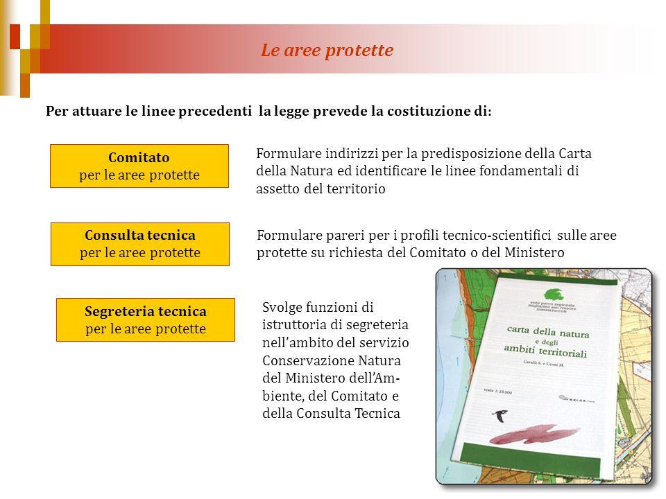 Per attuare le linee precedenti la legge prevede la costituzione di: Comitato per le aree protette Consulta tecnica per le aree protette Segreteria te
