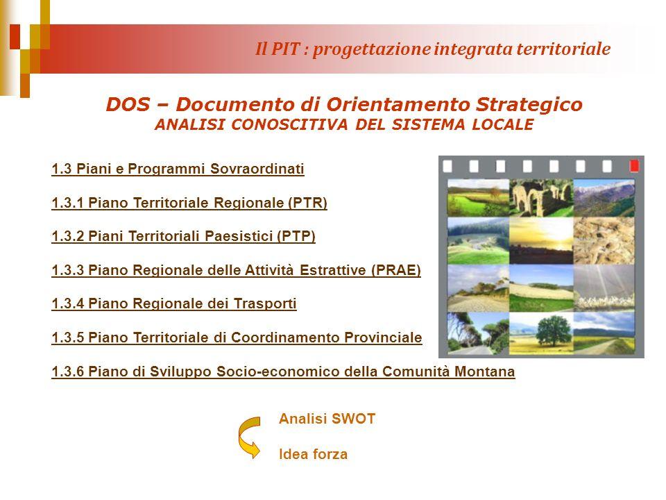 Il PIT : progettazione integrata territoriale DOS – Documento di Orientamento Strategico ANALISI CONOSCITIVA DEL SISTEMA LOCALE 1.3 Piani e Programmi