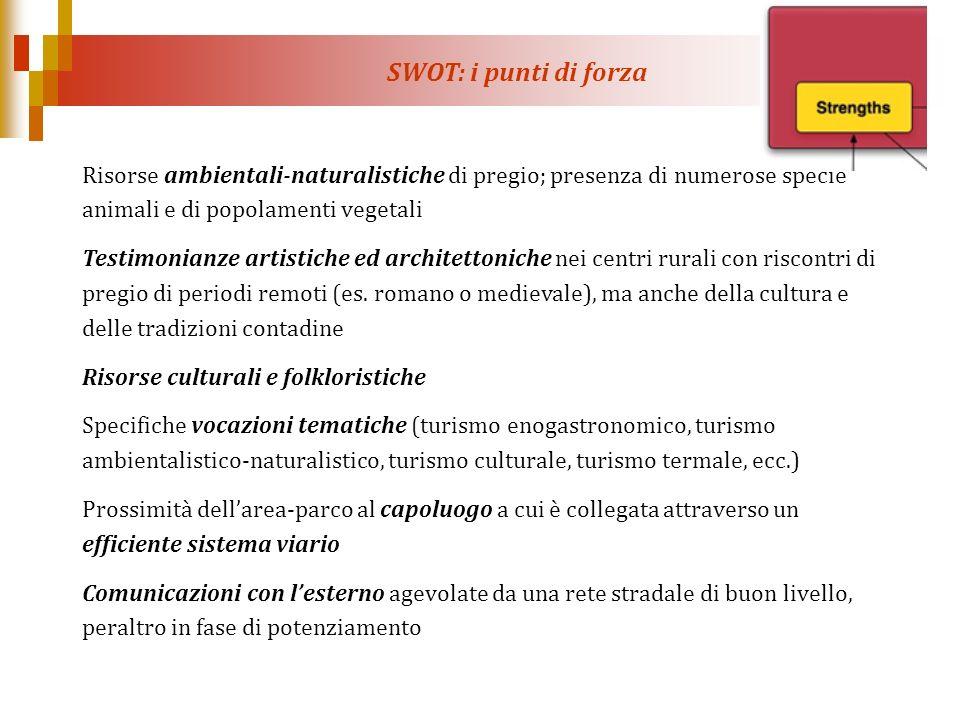 SWOT: i punti di forza Risorse ambientali-naturalistiche di pregio; presenza di numerose specie animali e di popolamenti vegetali Testimonianze artist
