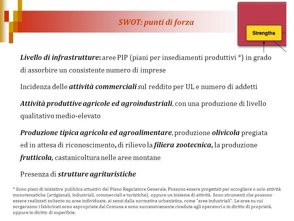 SWOT: punti di forza Livello di infrastrutture: aree PIP (piani per insediamenti produttivi *) in grado di assorbire un consistente numero di imprese