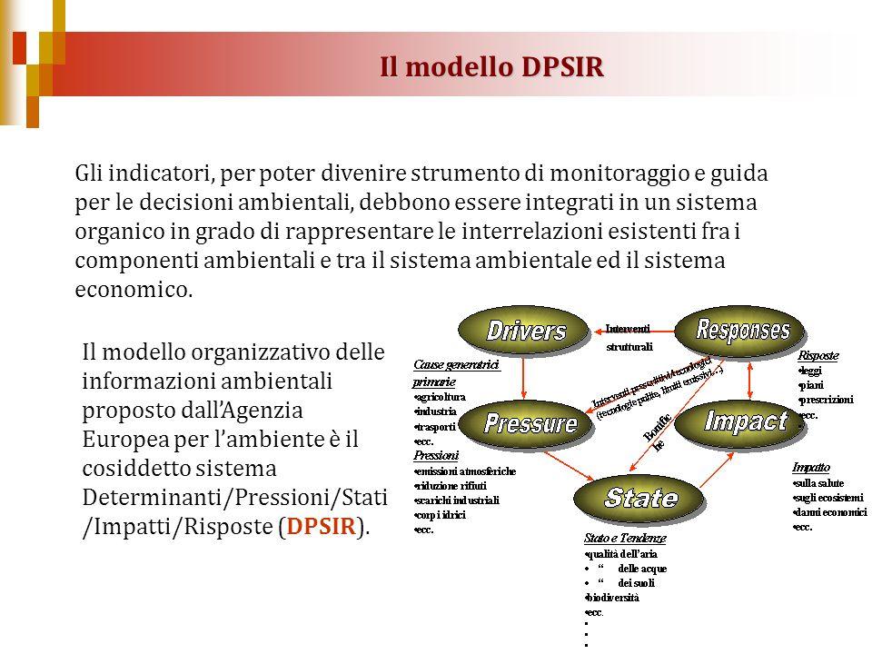 Il modello organizzativo delle informazioni ambientali proposto dallAgenzia Europea per lambiente è il cosiddetto sistema Determinanti/Pressioni/Stati