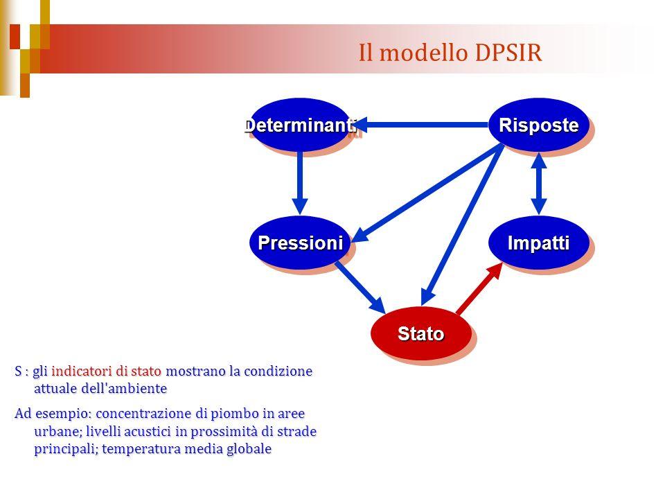 Il modello DPSIR S : gli indicatori di stato mostrano la condizione attuale dell'ambiente Ad esempio: concentrazione di piombo in aree urbane; livelli