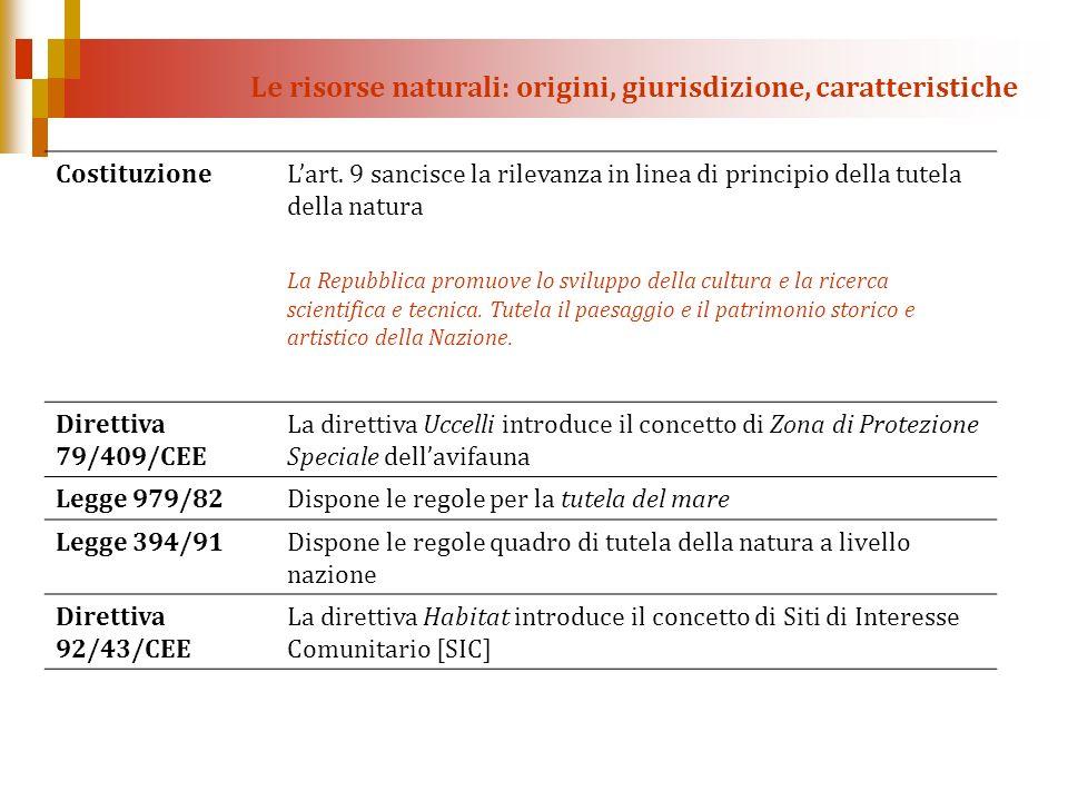 Le risorse naturali: origini, giurisdizione, caratteristiche CostituzioneLart. 9 sancisce la rilevanza in linea di principio della tutela della natura