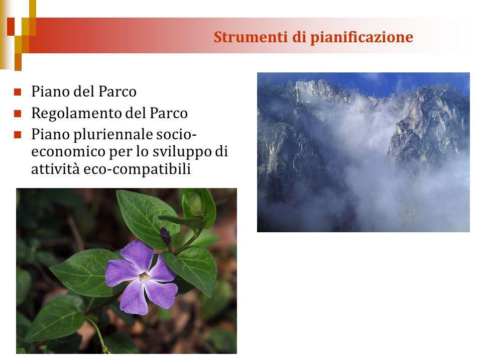 Strumenti di pianificazione Piano del Parco Regolamento del Parco Piano pluriennale socio- economico per lo sviluppo di attività eco-compatibili