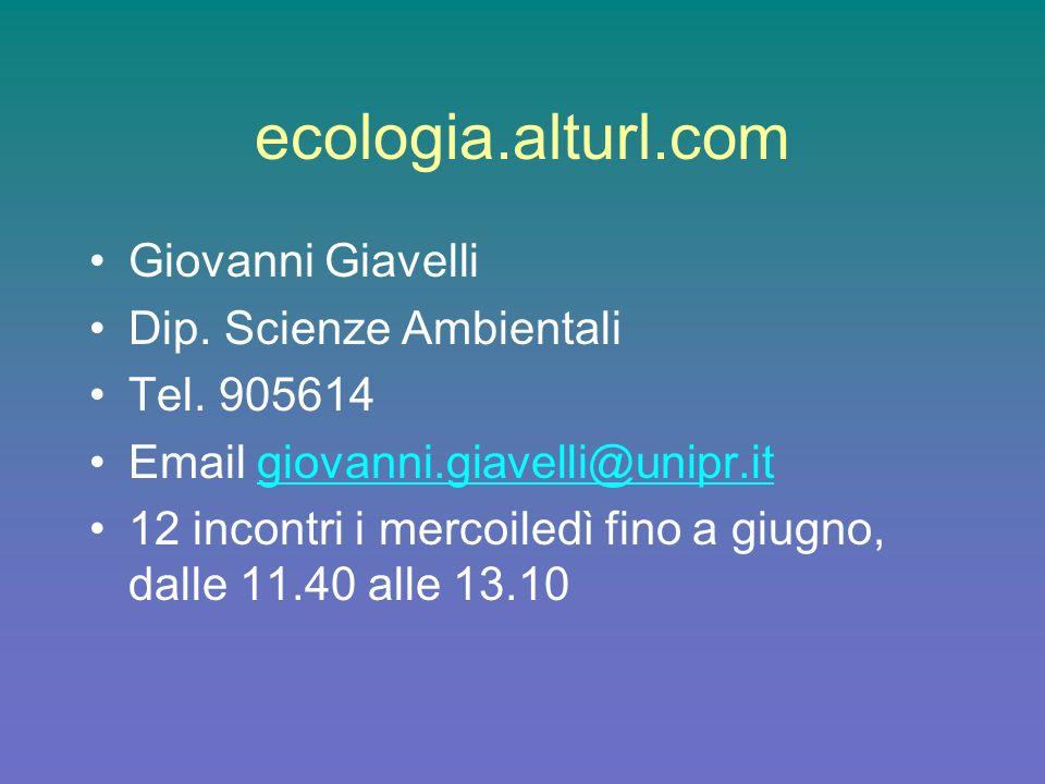 ecologia.alturl.com Giovanni Giavelli Dip. Scienze Ambientali Tel. 905614 Email giovanni.giavelli@unipr.itgiovanni.giavelli@unipr.it 12 incontri i mer