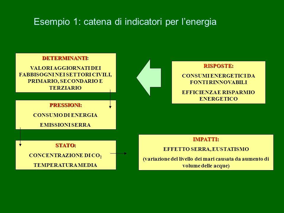 Esempio 1: catena di indicatori per lenergia DETERMINANTI DETERMINANTI: VALORI AGGIORNATI DEI FABBISOGNI NEI SETTORI CIVILI, PRIMARIO, SECONDARIO E TE