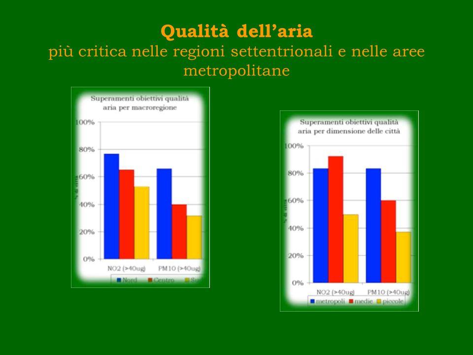 Dotazione di servizi ambientali differenziata tra metropoli e piccole-medie città