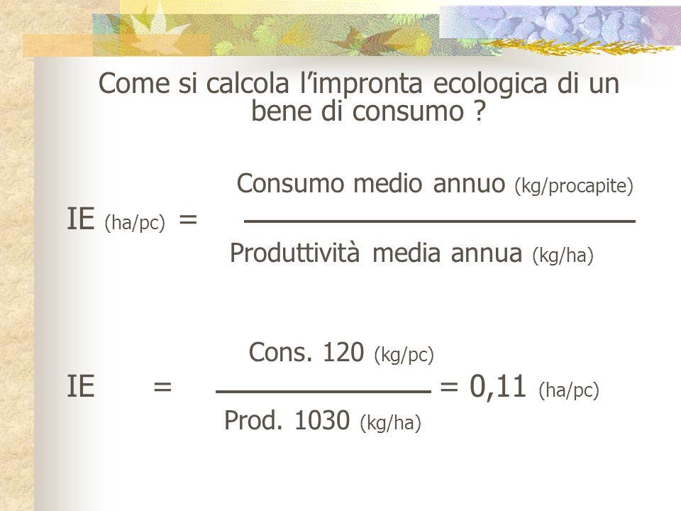 Come si calcola limpronta ecologica di un bene di consumo ? Consumo medio annuo (kg/procapite) IE (ha/pc) = Produttività media annua (kg/ha) Cons. 120