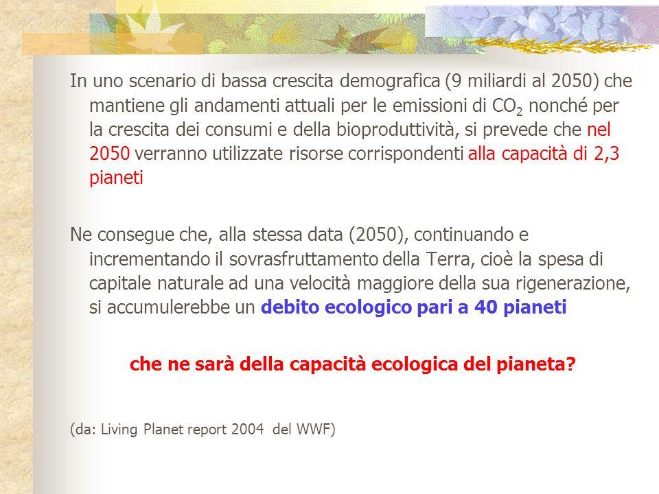 In uno scenario di bassa crescita demografica (9 miliardi al 2050) che mantiene gli andamenti attuali per le emissioni di CO 2 nonché per la crescita