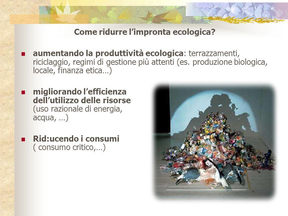 Come ridurre limpronta ecologica? aumentando la produttività ecologica: terrazzamenti, riciclaggio, regimi di gestione più attenti (es. produzione bio