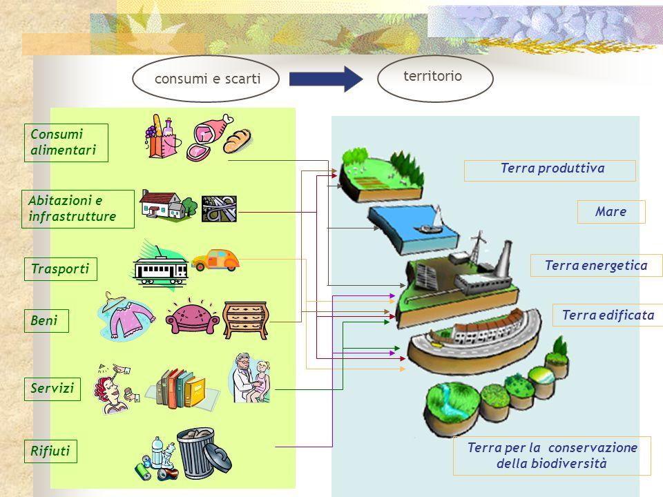 Terra produttiva Mare Terra energetica Terra edificata Terra per la conservazione della biodiversità Trasporti Consumi alimentari Abitazioni e infrast