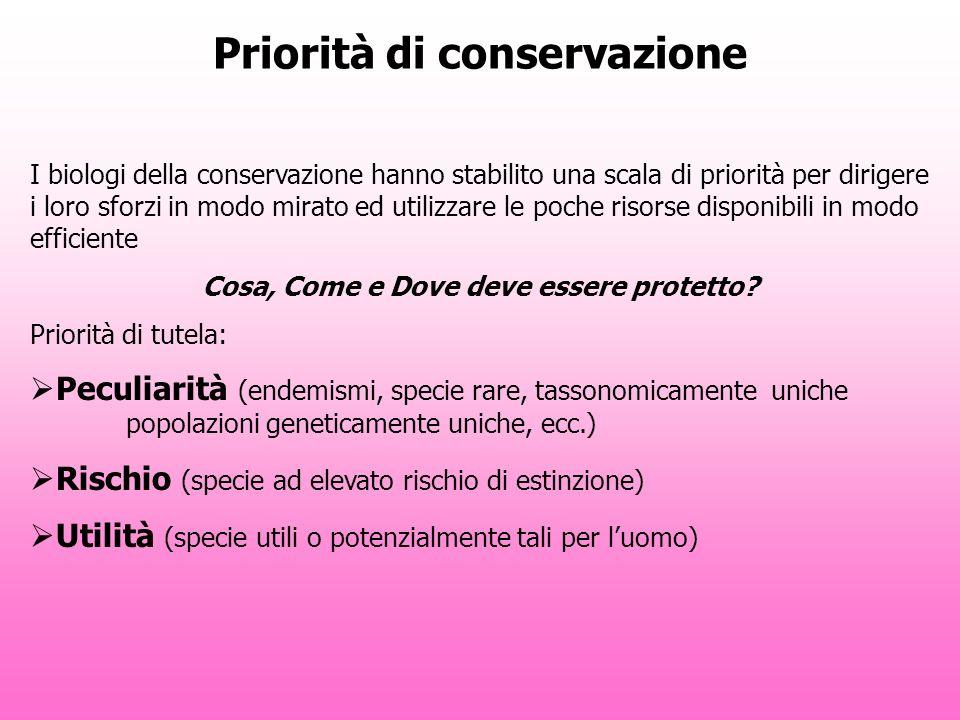 Priorità di conservazione I biologi della conservazione hanno stabilito una scala di priorità per dirigere i loro sforzi in modo mirato ed utilizzare le poche risorse disponibili in modo efficiente Cosa, Come e Dove deve essere protetto.