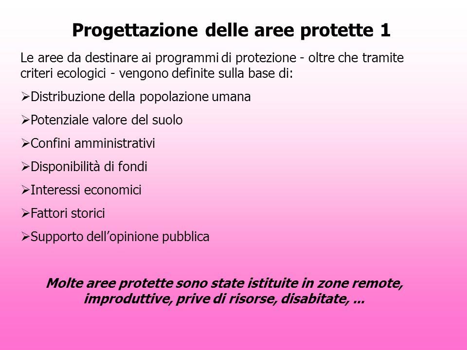 Progettazione delle aree protette 1 Le aree da destinare ai programmi di protezione - oltre che tramite criteri ecologici - vengono definite sulla bas