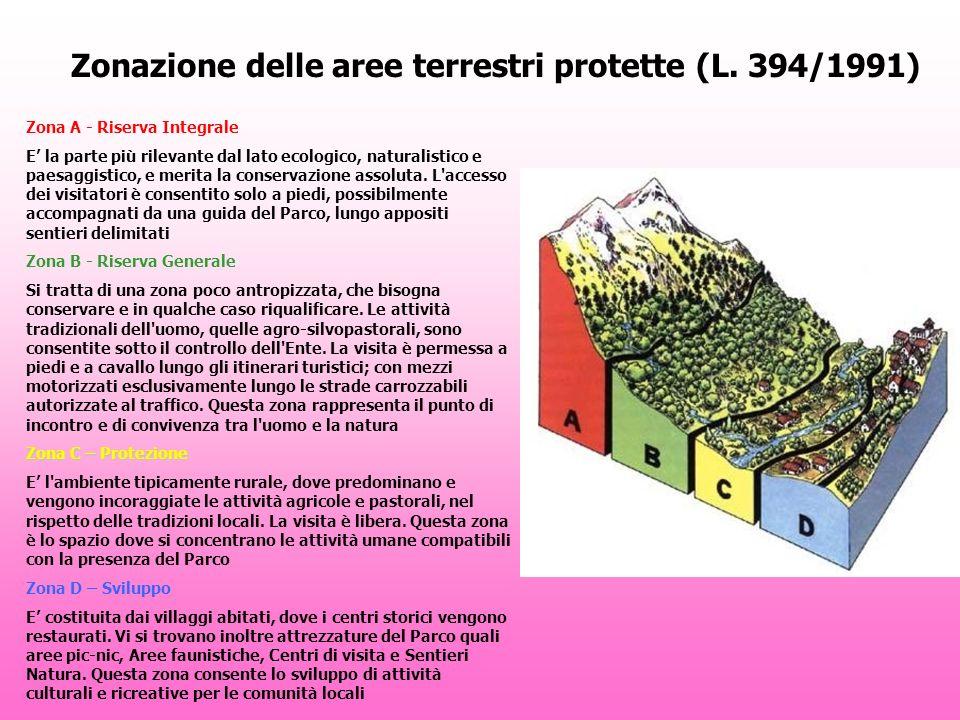 Zonazione delle aree terrestri protette (L. 394/1991) Zona A - Riserva Integrale E la parte più rilevante dal lato ecologico, naturalistico e paesaggi