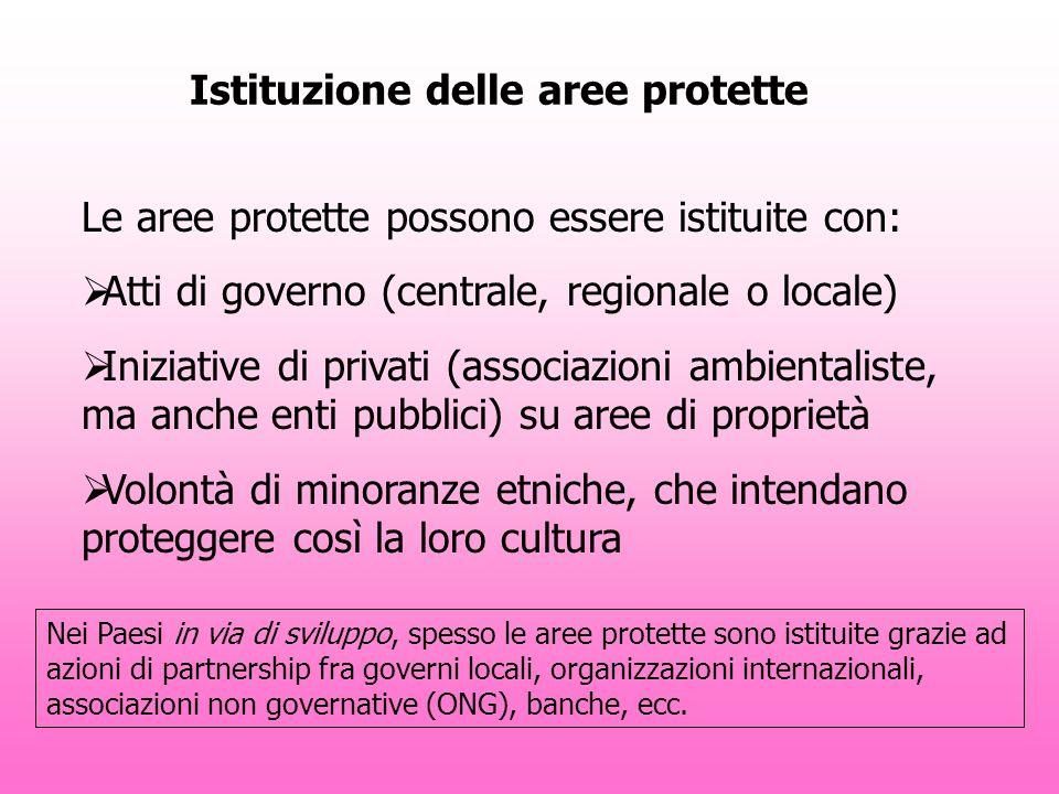 Istituzione delle aree protette Le aree protette possono essere istituite con: Atti di governo (centrale, regionale o locale) Iniziative di privati (a