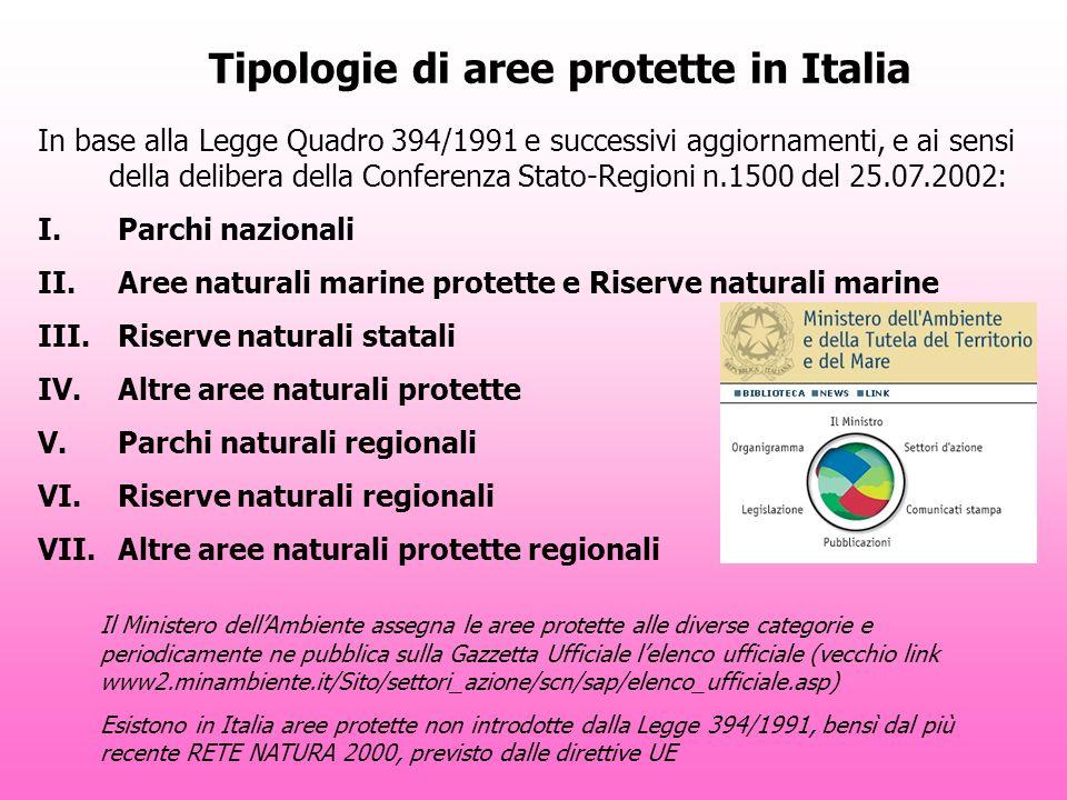 Tipologie di aree protette in Italia In base alla Legge Quadro 394/1991 e successivi aggiornamenti, e ai sensi della delibera della Conferenza Stato-Regioni n.1500 del 25.07.2002: I.