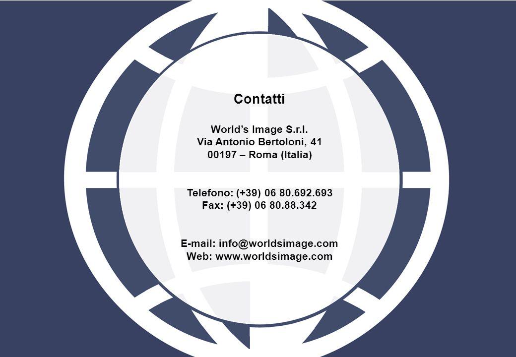 Contatti Worlds Image S.r.l. Via Antonio Bertoloni, 41 00197 – Roma (Italia) Telefono: (+39) 06 80.692.693 Fax: (+39) 06 80.88.342 E-mail: info@worlds