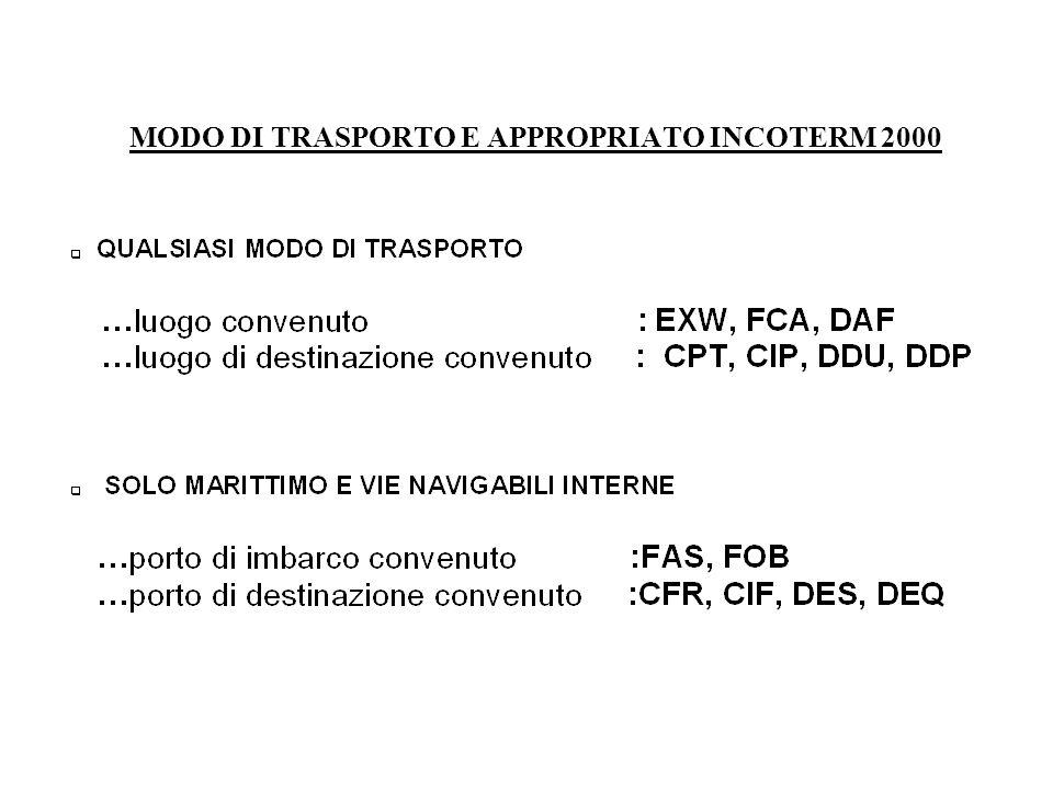 MODO DI TRASPORTO E APPROPRIATO INCOTERM 2000