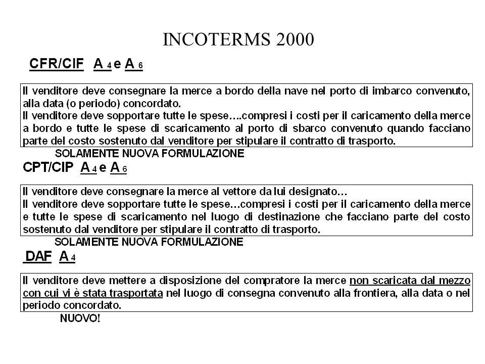INCOTERMS 2000 CFR/CIF A 4 e A 6