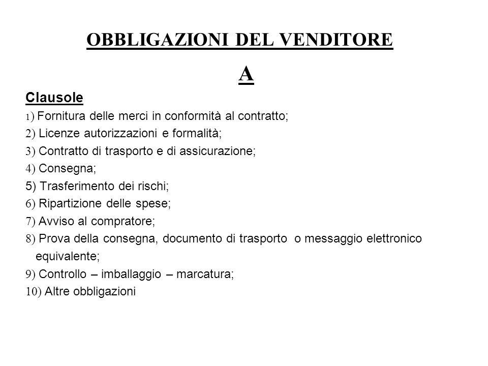 OBBLIGAZIONI DEL VENDITORE A Clausole 1 ) Fornitura delle merci in conformità al contratto; 2) Licenze autorizzazioni e formalità; 3) Contratto di tra
