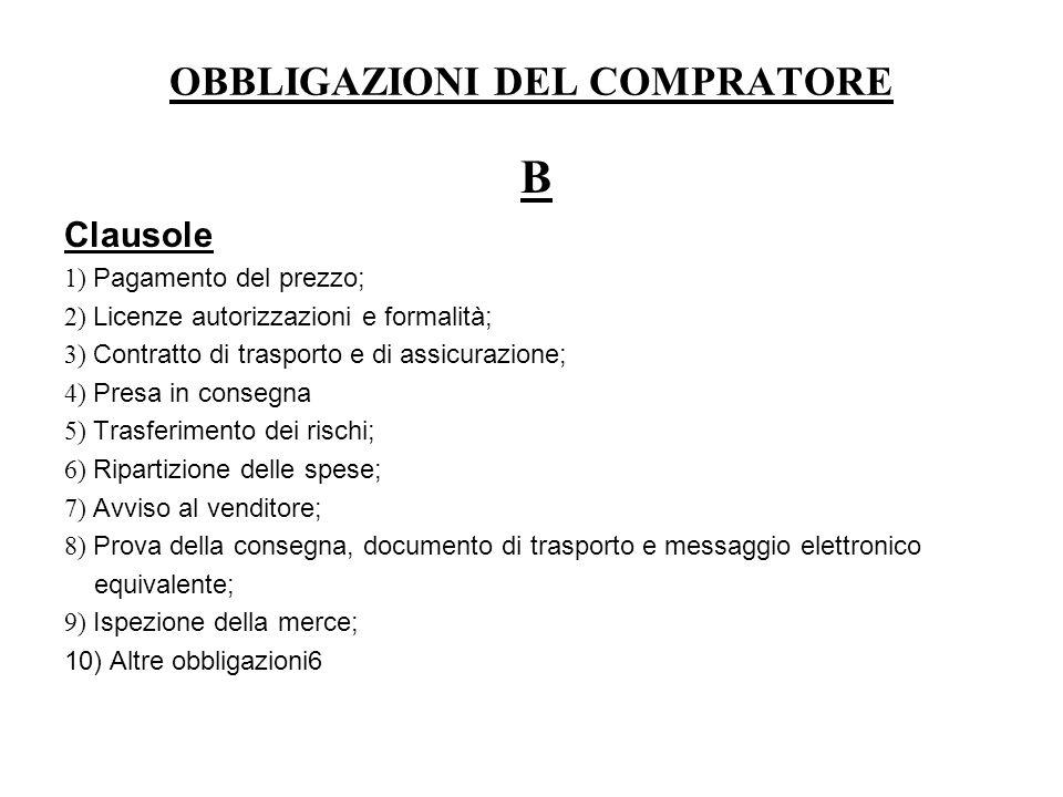 OBBLIGAZIONI DEL COMPRATORE B Clausole 1) Pagamento del prezzo; 2) Licenze autorizzazioni e formalità; 3) Contratto di trasporto e di assicurazione; 4