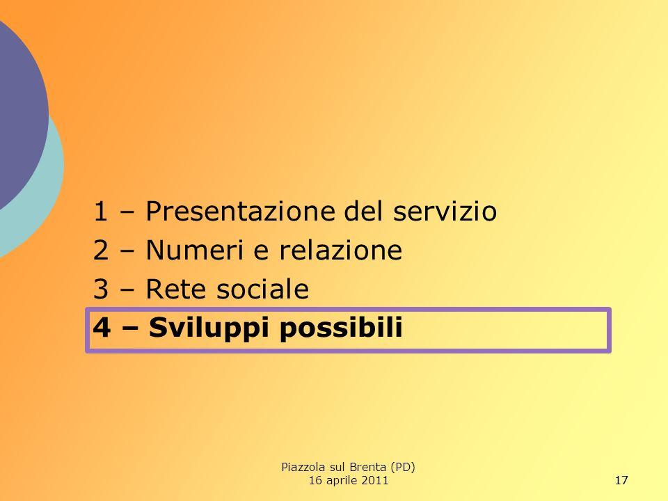 17 1 – Presentazione del servizio 2 – Numeri e relazione 3 – Rete sociale 4 – Sviluppi possibili Piazzola sul Brenta (PD) 16 aprile 2011