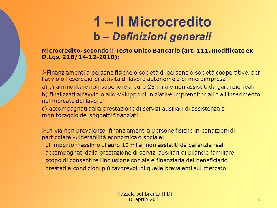 3 1 – Il Microcredito b – Definizioni generali Microcredito, secondo il Testo Unico Bancario (art.