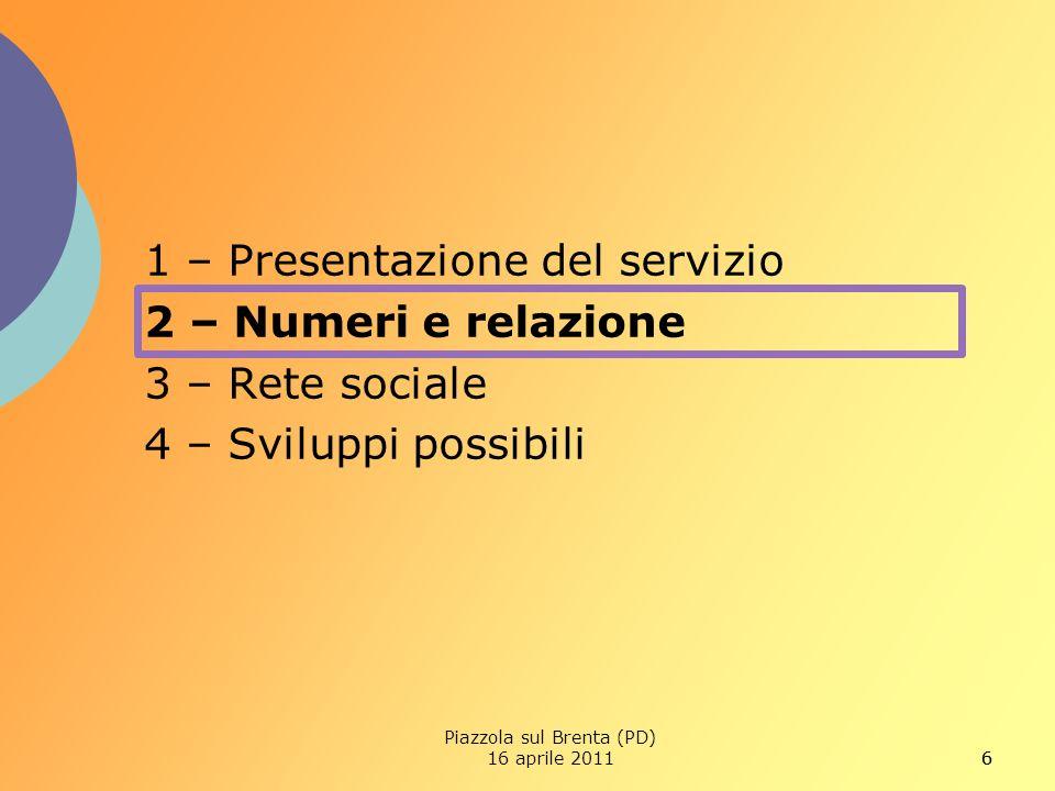 66 1 – Presentazione del servizio 2 – Numeri e relazione 3 – Rete sociale 4 – Sviluppi possibili Piazzola sul Brenta (PD) 16 aprile 2011