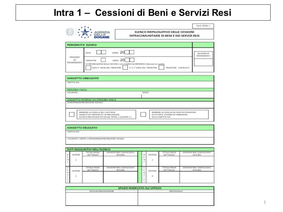 Intra 1 – Cessioni di Beni e Servizi Resi 1