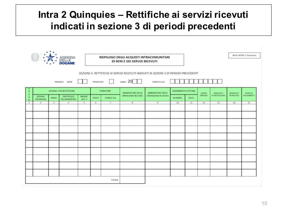 Intra 2 Quinquies – Rettifiche ai servizi ricevuti indicati in sezione 3 di periodi precedenti 10