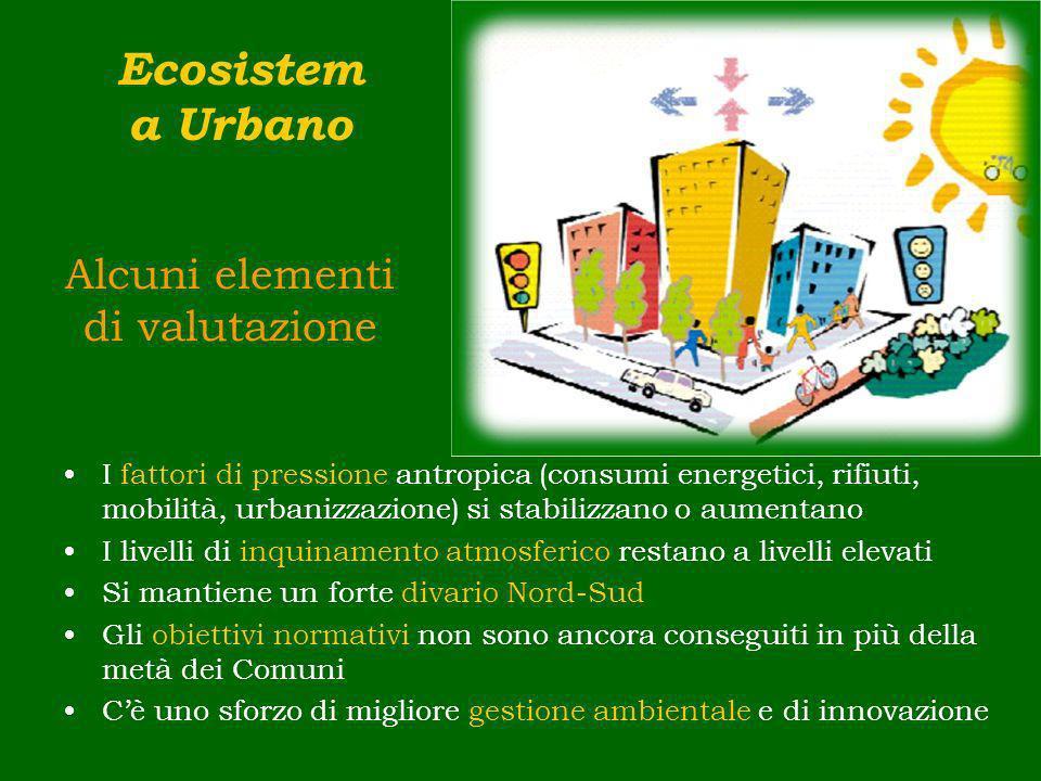Alcuni elementi di valutazione I fattori di pressione antropica (consumi energetici, rifiuti, mobilità, urbanizzazione) si stabilizzano o aumentano I