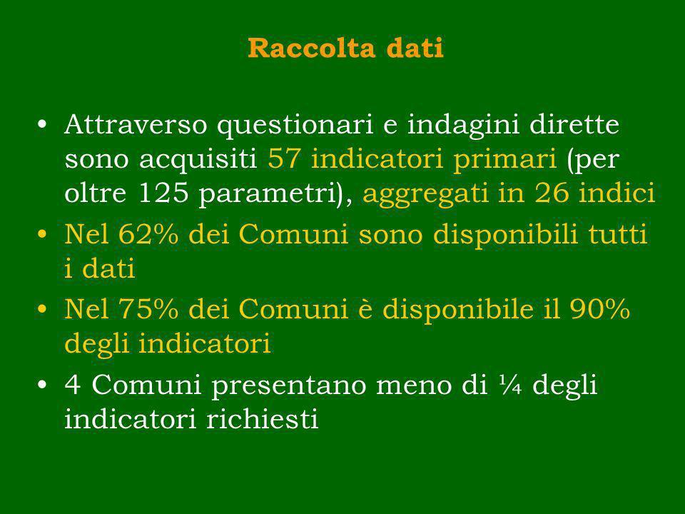 Raccolta dati Attraverso questionari e indagini dirette sono acquisiti 57 indicatori primari (per oltre 125 parametri), aggregati in 26 indici Nel 62%