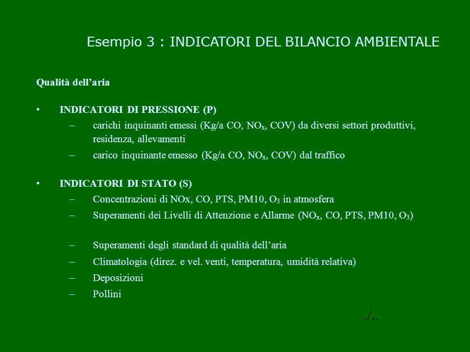 Qualità dellaria INDICATORI DI PRESSIONE (P) –carichi inquinanti emessi (Kg/a CO, NO x, COV) da diversi settori produttivi, residenza, allevamenti –ca