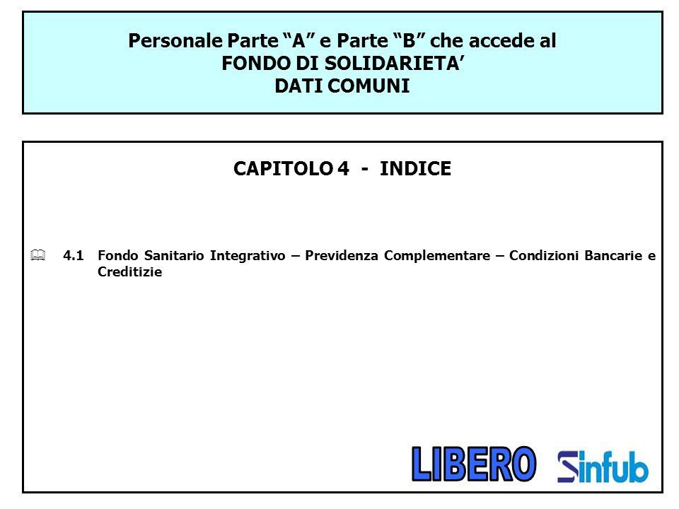 Personale Parte A e Parte B che accede al FONDO DI SOLIDARIETA DATI COMUNI CAPITOLO 4 - INDICE 4.1Fondo Sanitario Integrativo – Previdenza Complementa